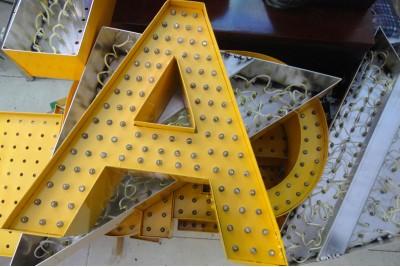 Aluminum bulb signs